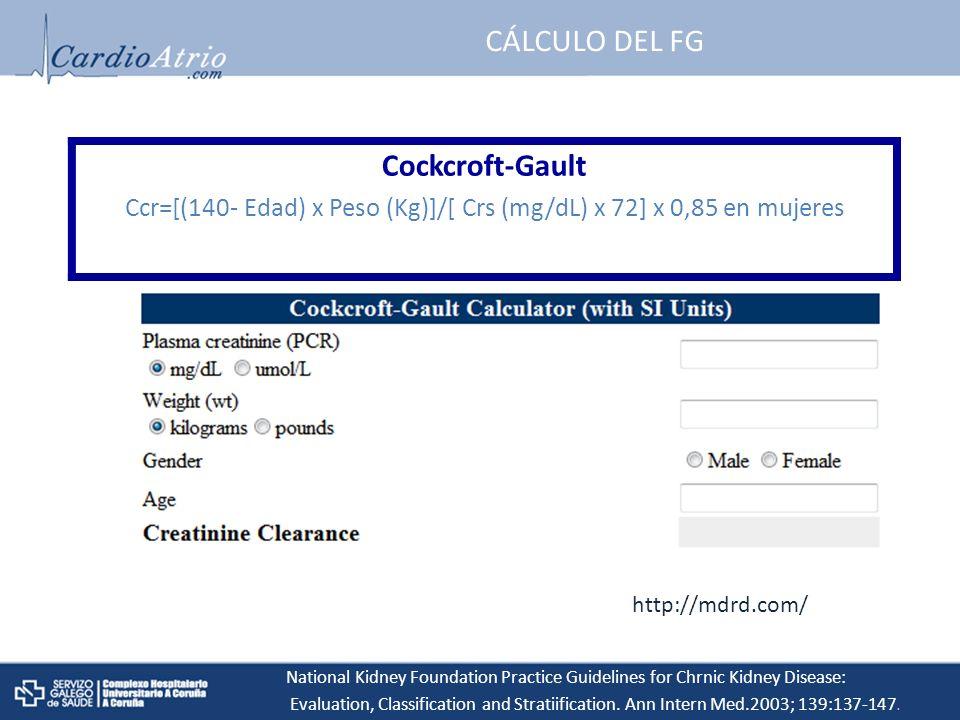 Ccr=[(140- Edad) x Peso (Kg)]/[ Crs (mg/dL) x 72] x 0,85 en mujeres